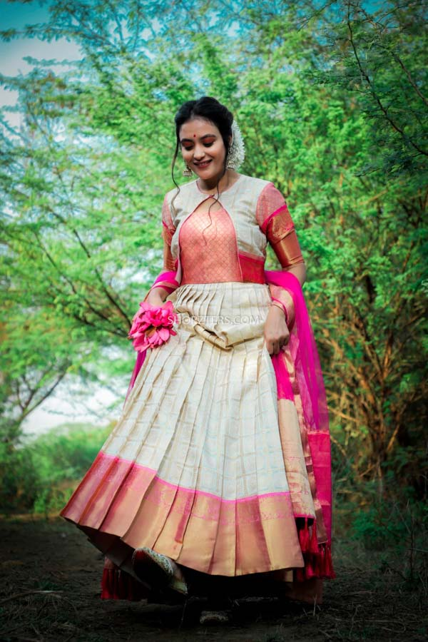 Pink With Off White Silk Dress With Dupatta