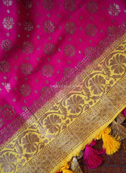 Pink Munga Silk Dupatta with Buttas