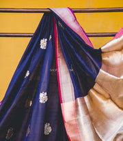 Dark Blue Katan Silk Dupatta