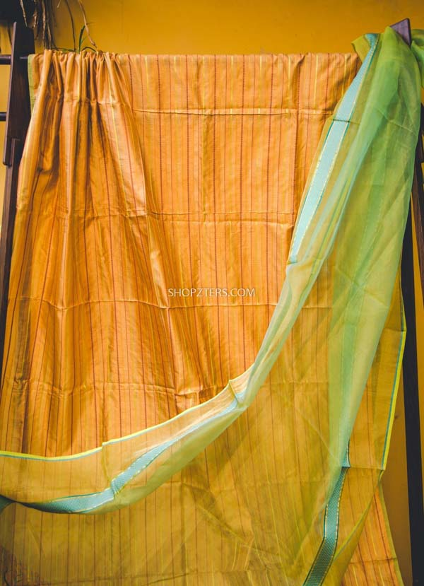 Yellow and Green Silk Cotton Dupatta