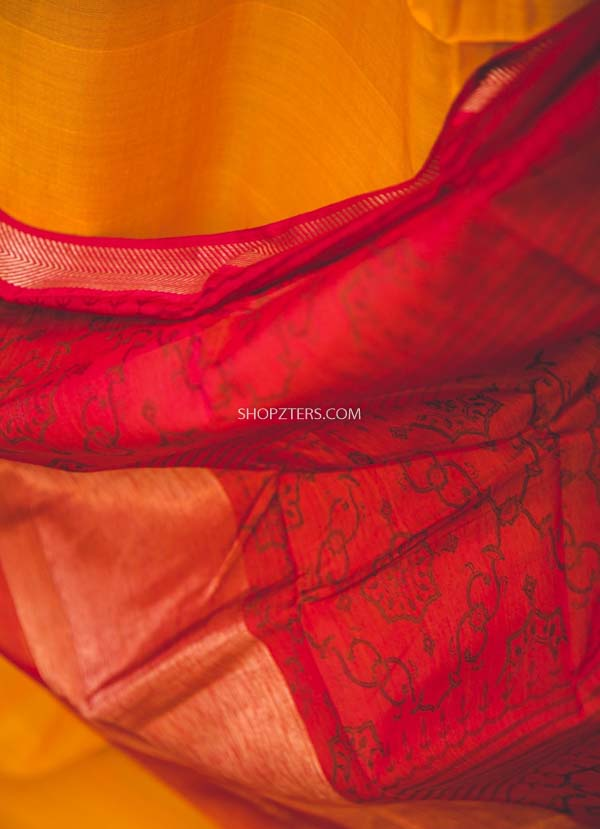 Yellow And Red Silk Cotton Dupatta