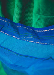 Green And Blue Silk Cotton Dupatta