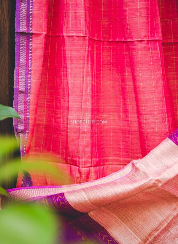Pink And Purple Silk Cotton Dupatta