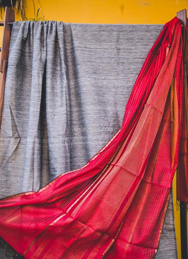 Grey And Red Silk Cotton Dupatta