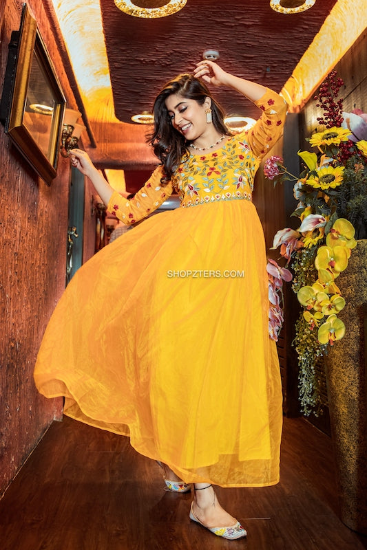 Yellow Organza Embroidery Maxi