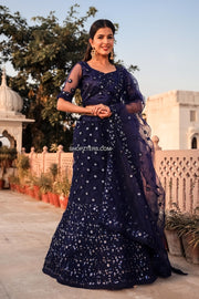 Navy Blue Net Lehenga With Sequins Work