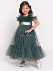 Dark Green Dress With Silver Belt