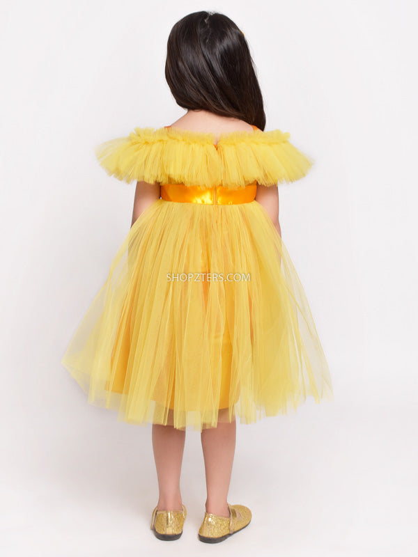 Yellow Dress With Satin Belt