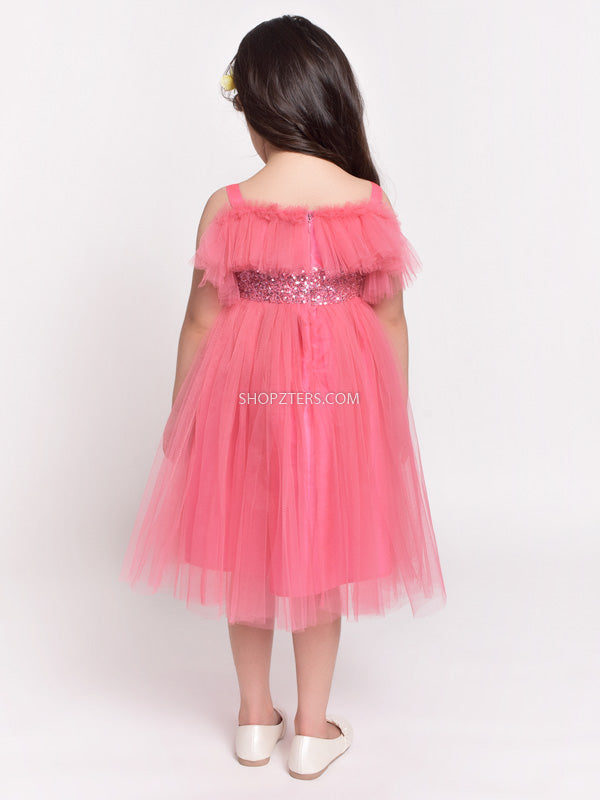 Peach Dress With Sequins Belt