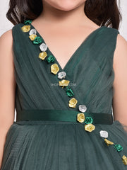 Dark Green Layered Gown