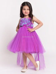 Purple Hatler Neck Net Dress