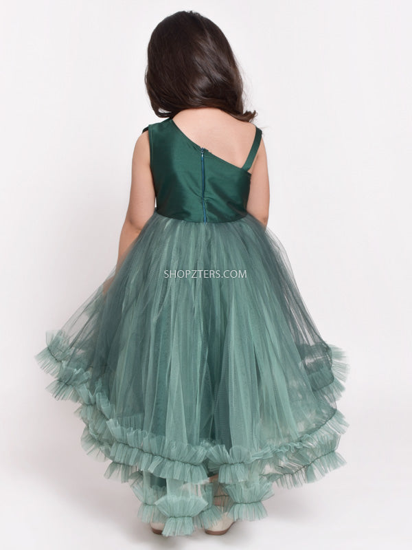 Dark Green Flower Patch Net Dress