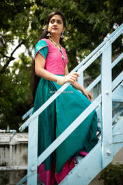Bluish Green And Pink Anarkali With Over Lapped Sleeves