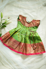 Green Silk Dress With Zari Patch Neck