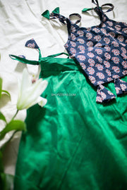 Green Raw Silk Skirt With Navy Blue Ajrakh Top