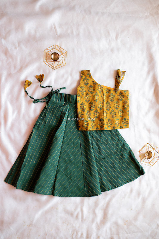 Green Striped Skirt And Yellow Ajrakh Top
