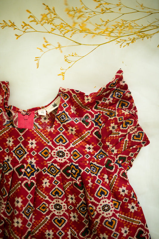 Red Patola Print Dress With Ruffles