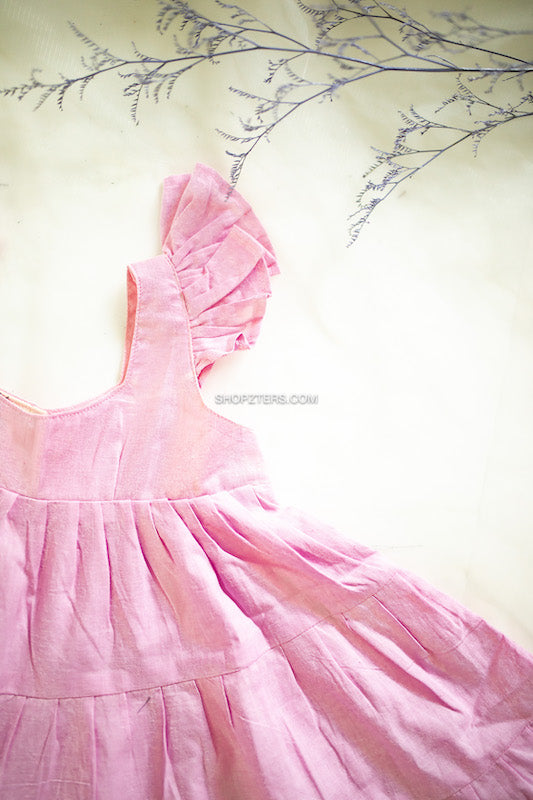 Light Pink Cotton Dress With Multiple Layers