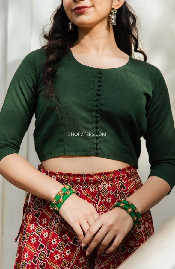 Green Crop Top With Red Patola Skirt