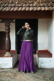 Ikkat Crop Top With Purple Skirt