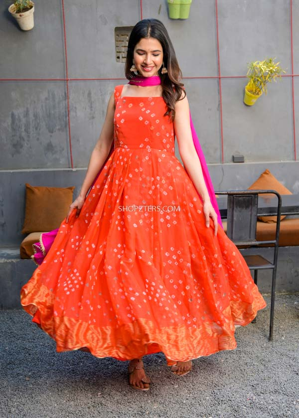 Orange Bandhani Anarkali With Dupatta
