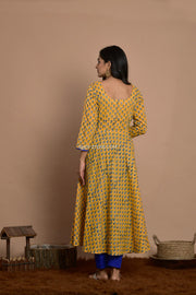 Yellow Block Print Dress With Blue Pant