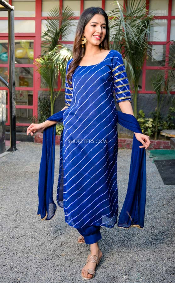 Blue Leheriya Kurta Set