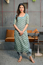 Grey Leheriya Kurta Set