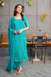 Teal Green Leheriya Kurta Set