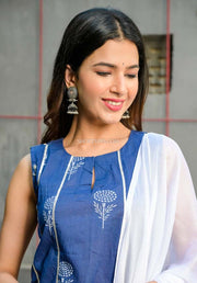 Blue Kurta With Gharara Set