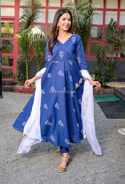Blue Kurta Set With Chiffon Dupatta