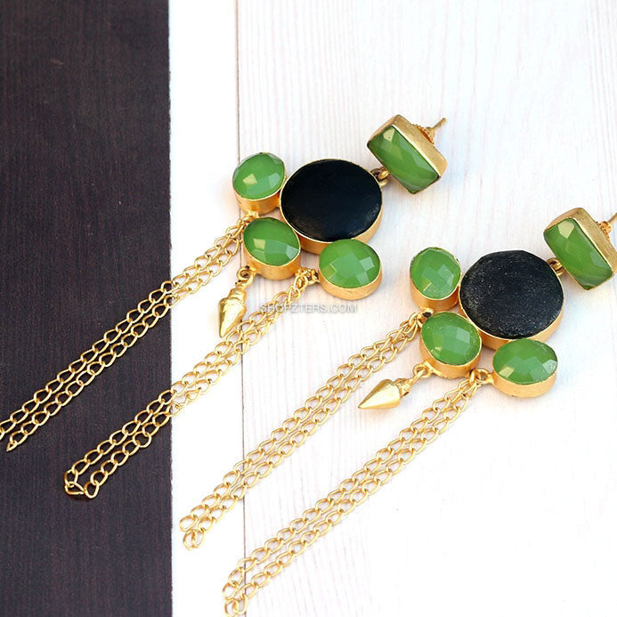 Black And Green Natural Stone Earring With Gold Tassels