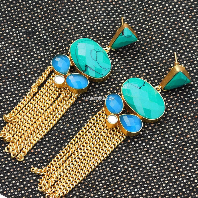 Teal And Blue Natural Stone Earring With Gold Tassels