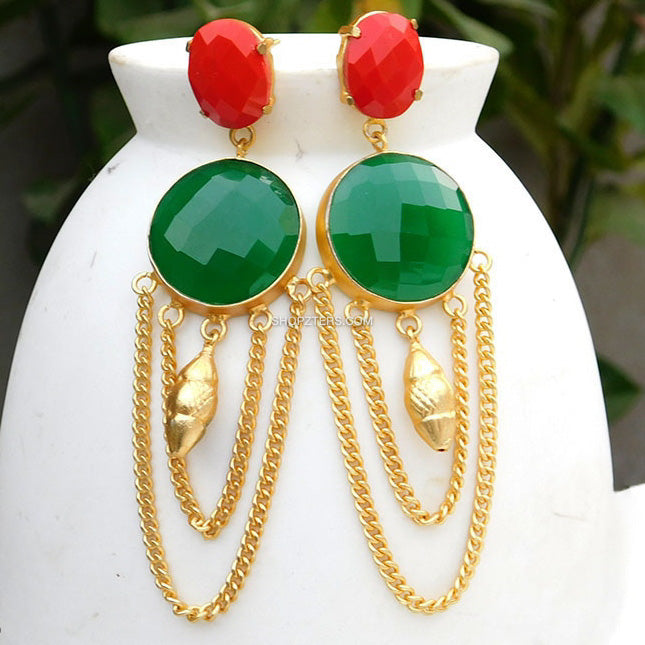Red And Green Natural Stone Earring With Gold Chains