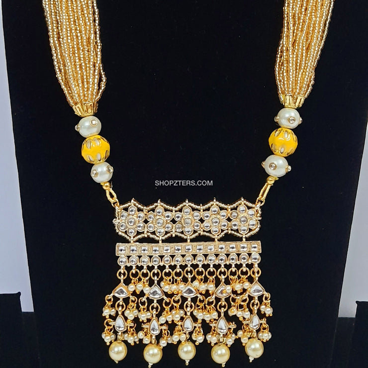 Yellow Beads Strings Neckpiece