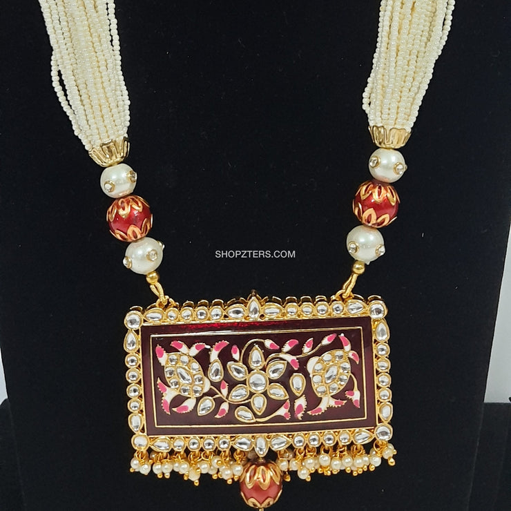 White Beads Strings Neckpiece With Meenakari Pendant