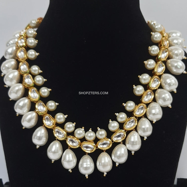 White Pearl Necklace With Stones