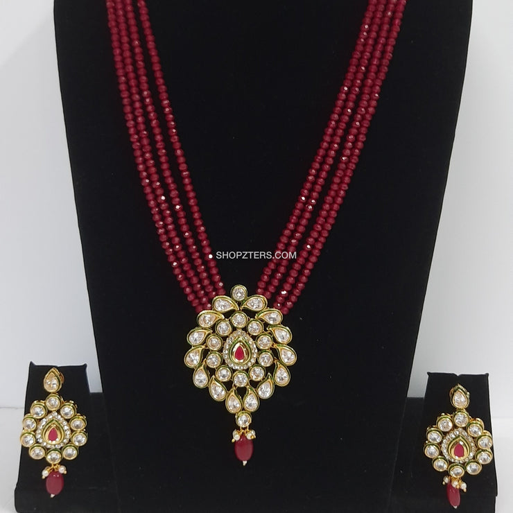 Maroon Beads Long Neckpiece With Kundan Pendant