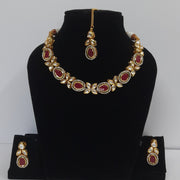 Red Kundan Necklace Earring Tikka Set