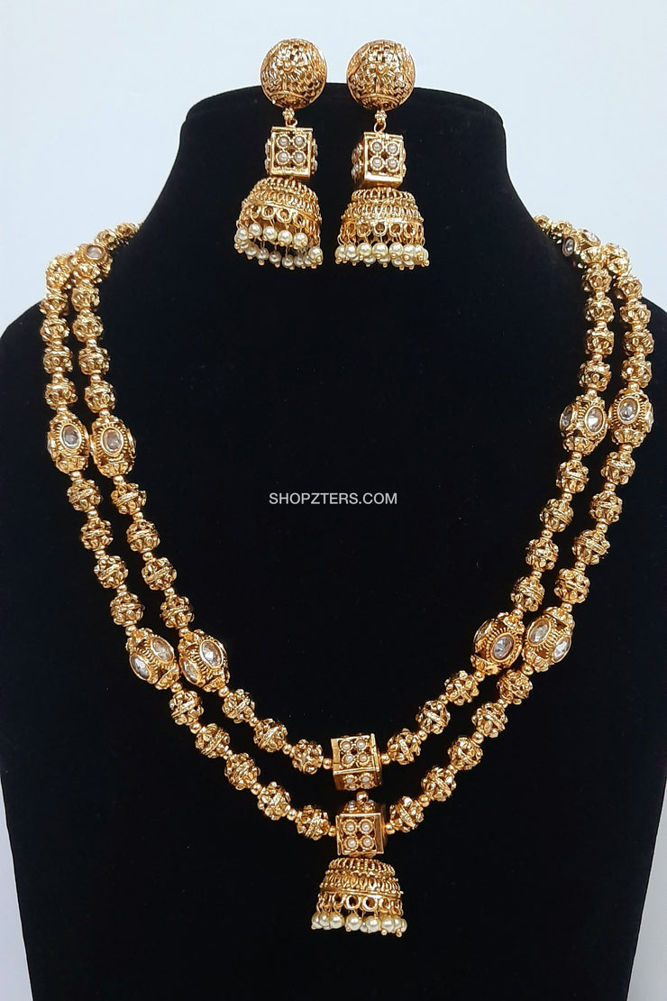 2 Layer Gold Ball Necklace With Jhumka Pendant