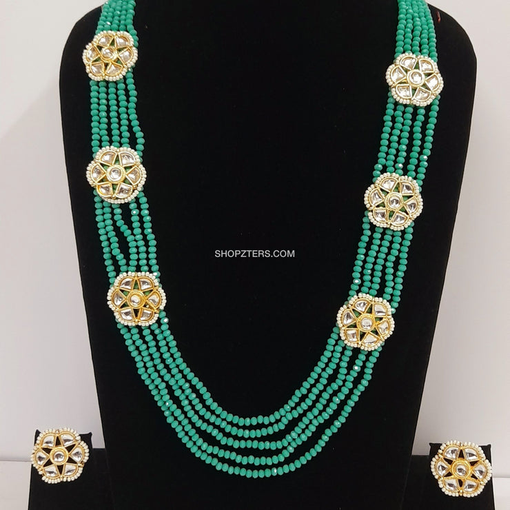 Green Beads Layered Neckpiece With Kundan Pendant