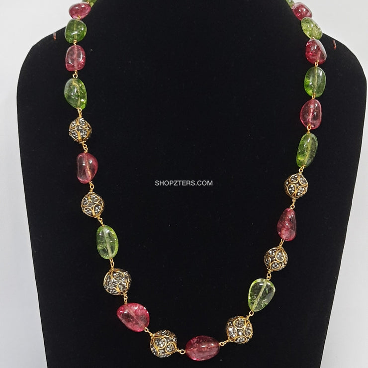 Pink And Green Stone Neckpiece