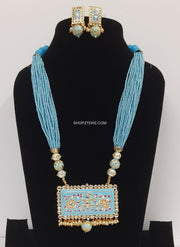Blue Beads Strings Neckpiece With Meenakari Pendant