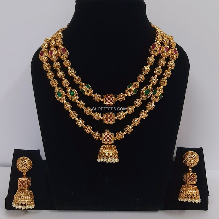 3 Layer Gold Ball Necklace With Jhumka Pendant
