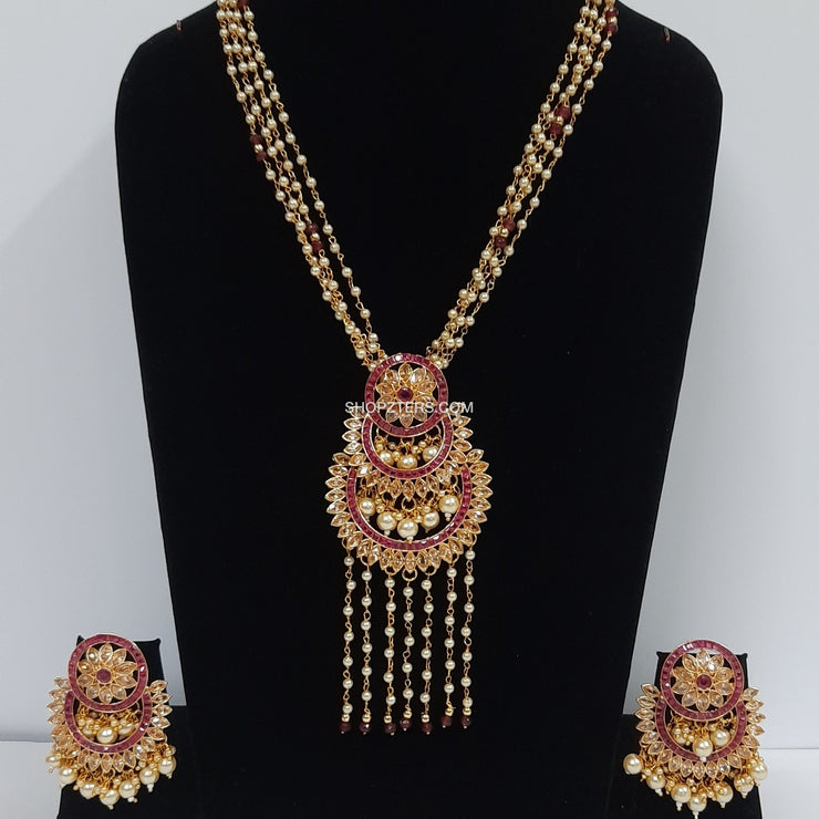 Beads Neckpiece With Orange Stone Chandbali Pendant