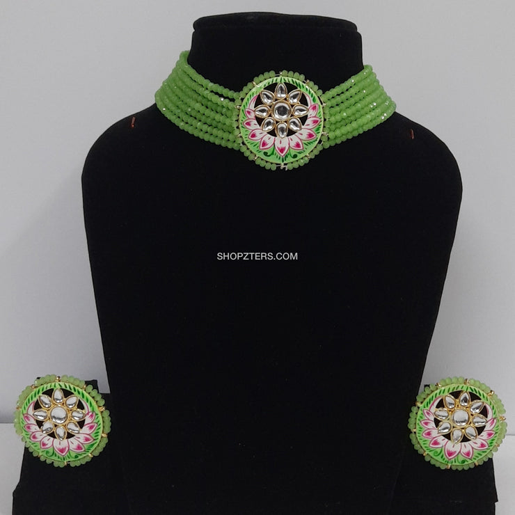 Green Beads Choker With Meenakari Pendant