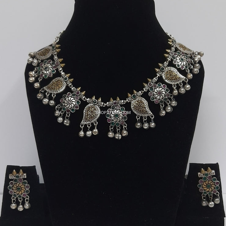 Oxidised Neckpiece With Flower And Paisley Pendants