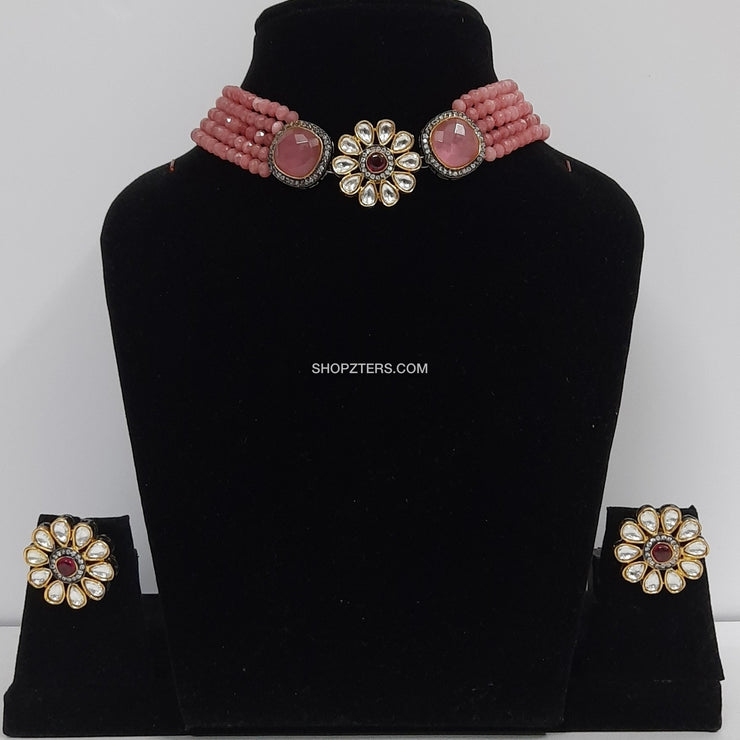 Pink Beads Neckpiece With Kundan Pendant