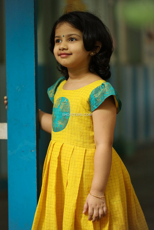 Yellow & Turquoise Blue Sungudi Frock