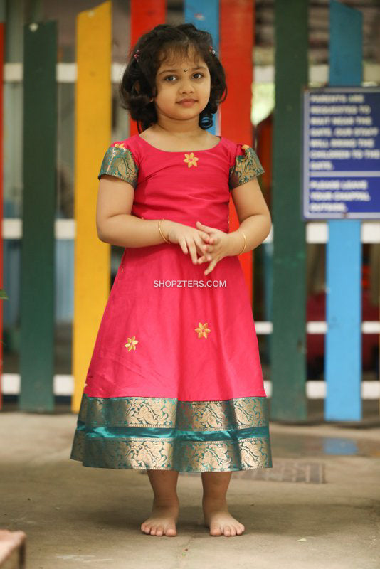Pink Dress With Zari Border